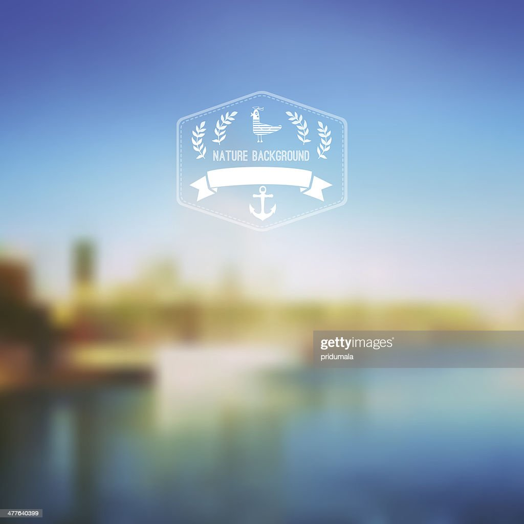 Vector seaside landscape with hipster badge. Outdoor. Barcelona