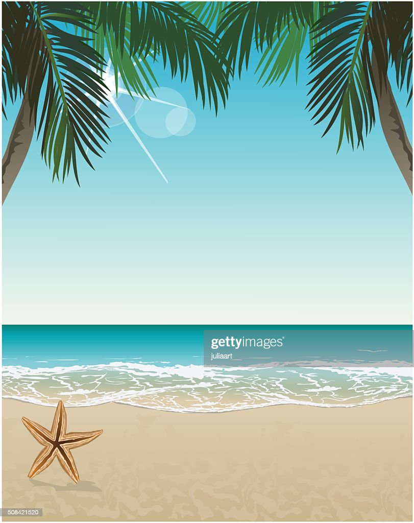 Vector seaside view poster with tropical beach and palms