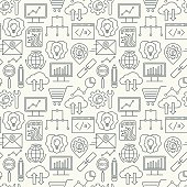 Vector SEO and development seamless pattern with linear icons.