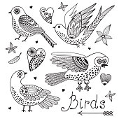 Vector set birds and hearts.