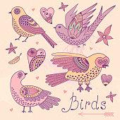 Vector set birds and hearts.