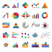 Vector set business graph and chart infographic diagram. Flat design concept.