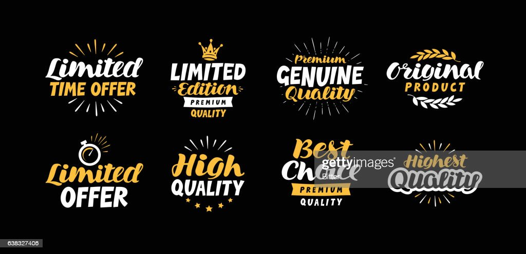 Vector set business labels, icons. Lettering limited time offer, Edition