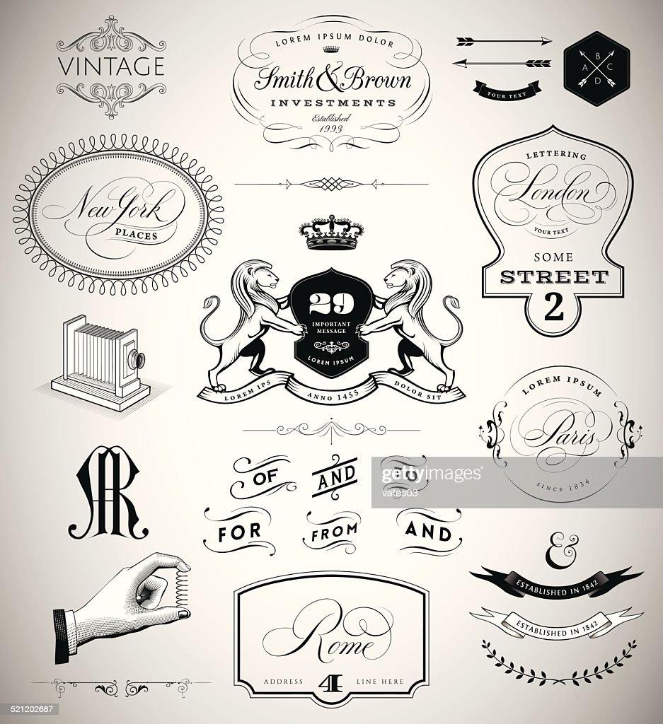 Vector Set: Calligraphic Design Elements, Page Decoration, Vintage Crests and
