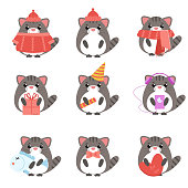 Vector set cats in warm clothes with different subjects: fish, hat, scarf, gift, heart, bow. Cartoon cute illustration