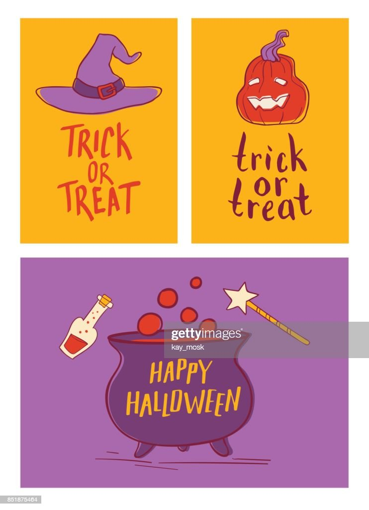collection of cartoon halloween cards with lettering cute halloween traditional decoration elements