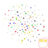 Vector Set colored Stars Isolated on White Background. Confetti Texture. Starry Pattern