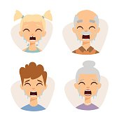 Vector set crying emoticons face of people fear shock surprise avatars characters illustration