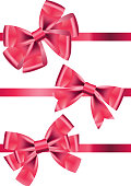 Vector set different types of pink satin ribbons with bows
