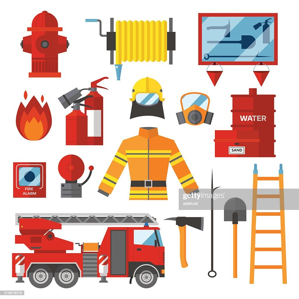 Vector Set Firefighter Fire safety Flat Icons and Symbols