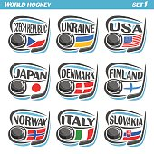 Vector set Flags of European Countries with Ice Hockey Puck