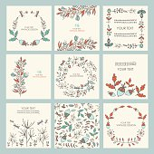 Vector set: floral seamless, wreath and floral backgrounds. hand drawn