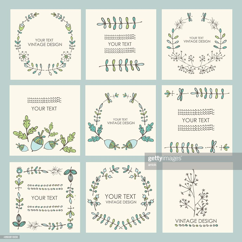 Vector set: floral wreath and floral backgrounds. hand drawn