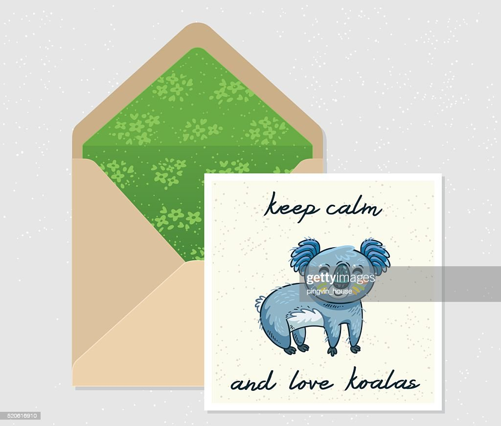Vector set for design. Envelope and card with cute Koala