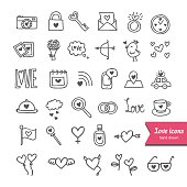 Vector set: hand drawn love and romantic icons