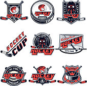 Vector set hockey designs for sports team, design, web, print on white background