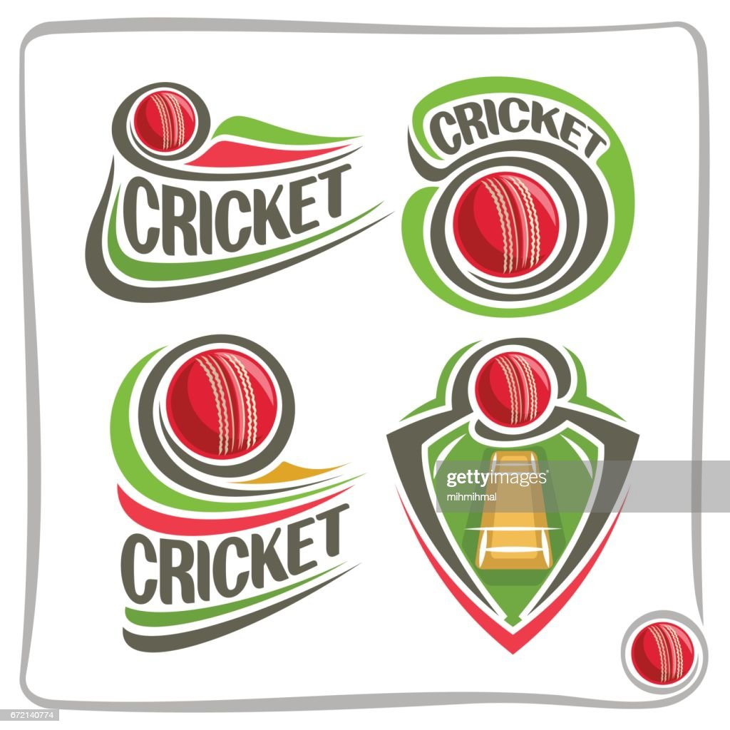 Vector set icons for Cricket game