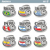Vector set icons of Flags American National Teams with Soccer ball