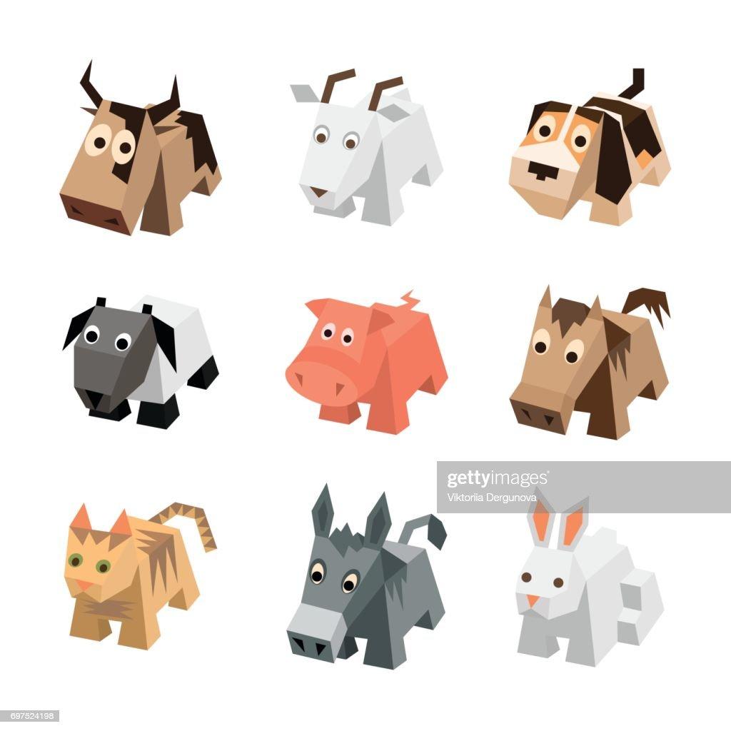 Vector set isometric animals