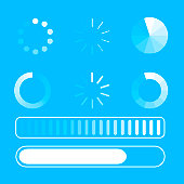 Vector set loading process. Few kind process of loading or download. Blue background. White lines. Circle. Flat design. EPS 10.