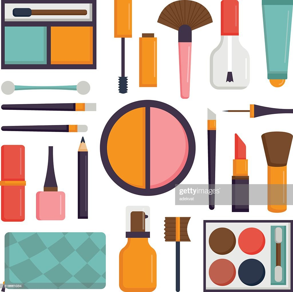 Vector set make up brushes and beauty fashion cosmetic icon