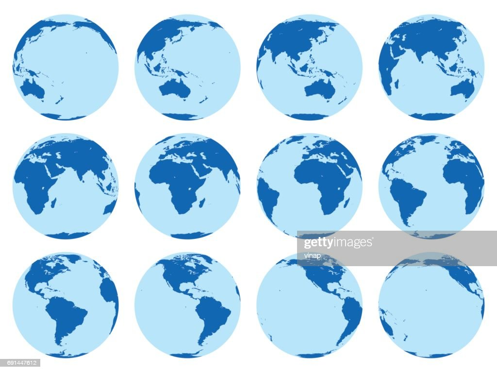 Vector set of 12 flat globes showing earth in 30 degrees rotation.
