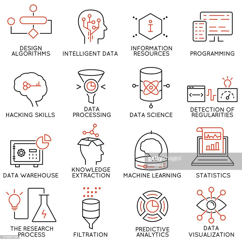 Vector set of 16 icons: data management, analytic service-part 2