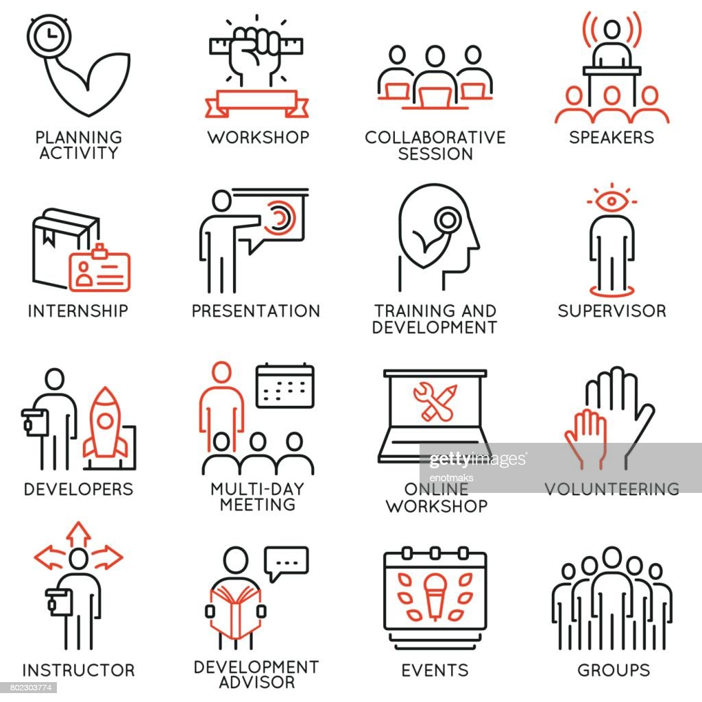 Vector set of 16 icons related to career progress, professional consulting service, training and development. Mono line pictograms and infographics design elements - part 1