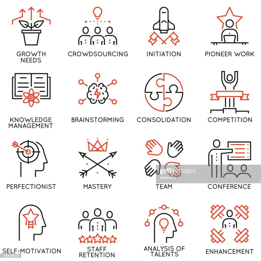 Vector set of 16 linear quality icons related to business management, strategy, career progress and business process - part 4