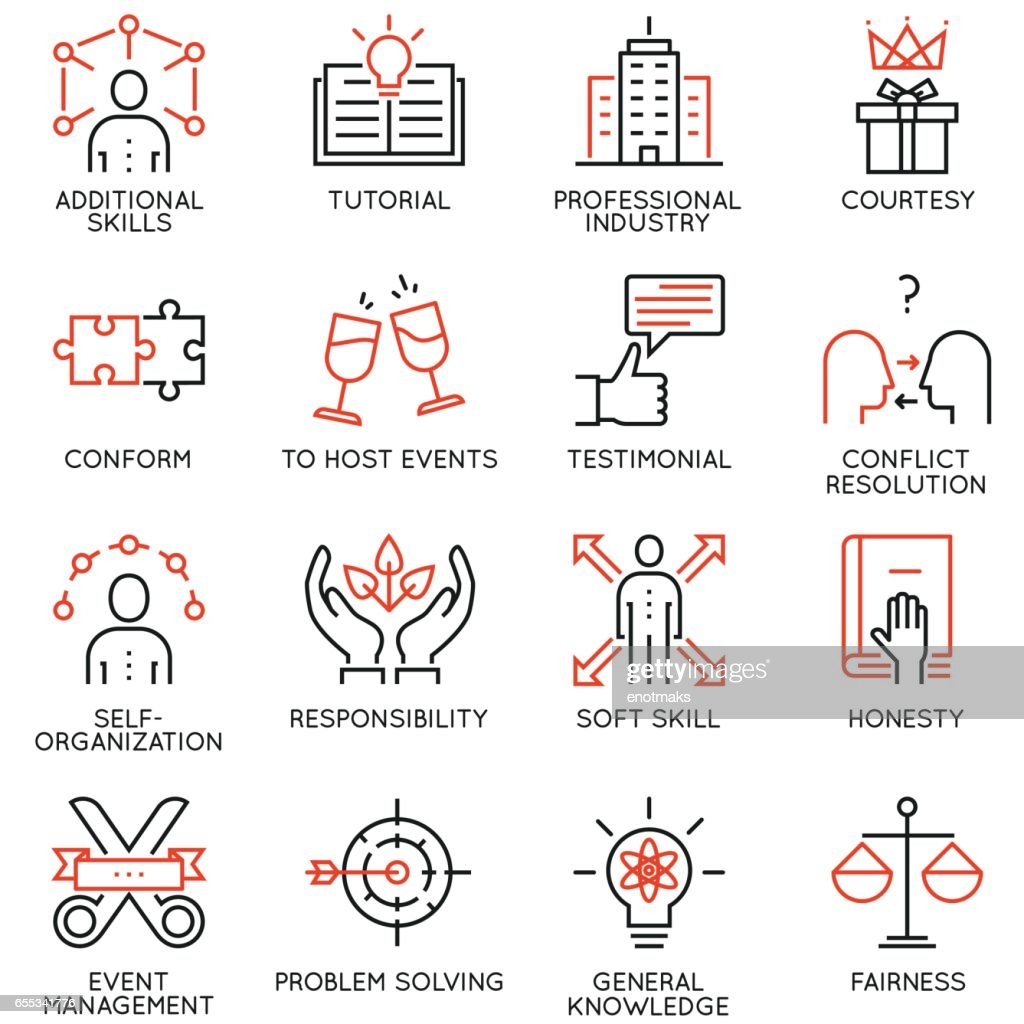 Vector set of 16 linear quality icons related to business management, strategy, career progress and business process - part 6