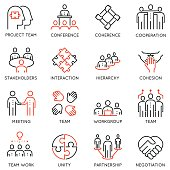 Vector set of 16 linear quality icons related to team work, career progress and business process