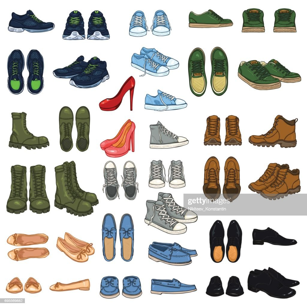 Vector Set of 37 illustrations - Cartoon Color Shoe Items.