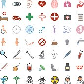 Vector set of 49 color medical icons