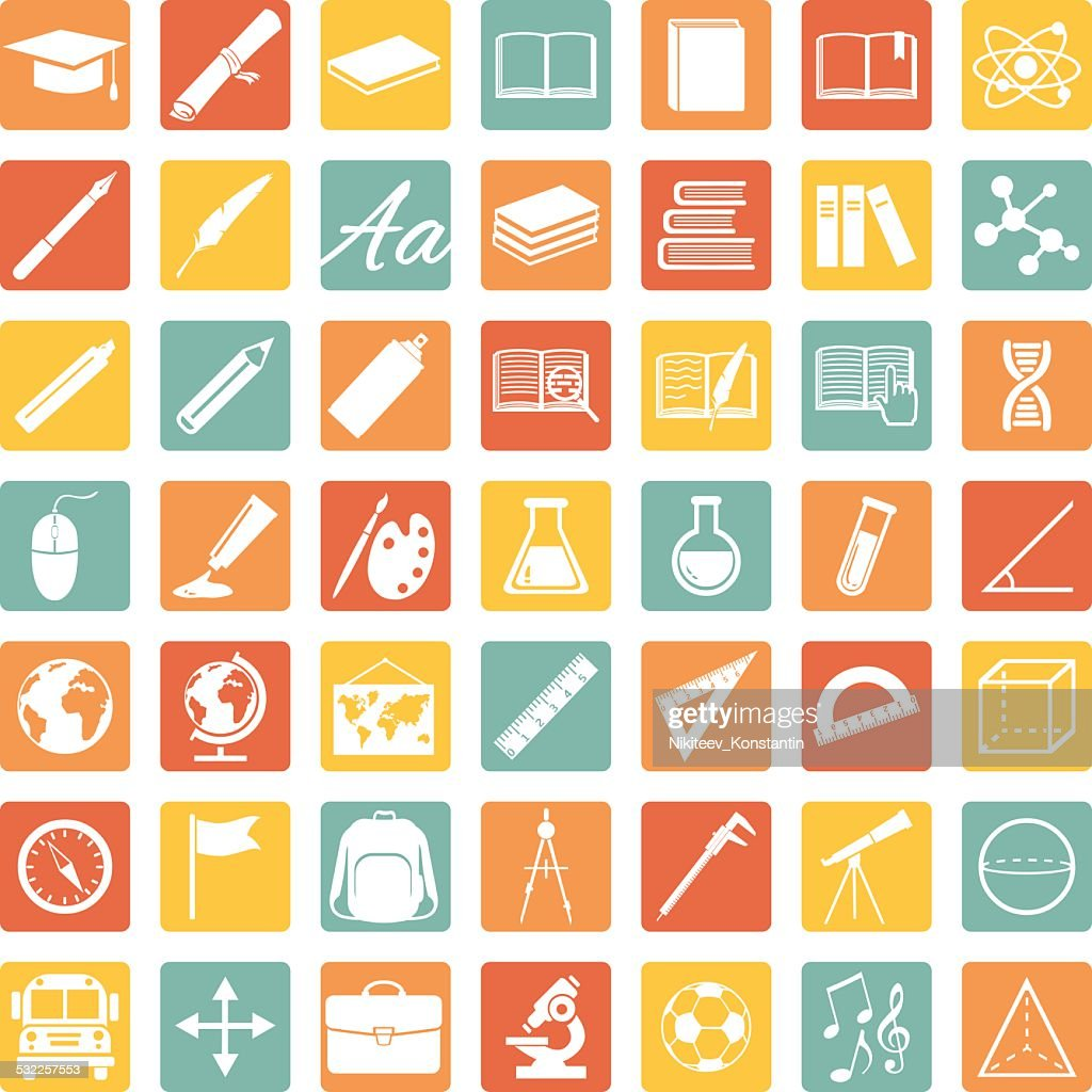 Vector Set of 49 Education Icons. School and University.