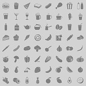 Vector Set of 64 Food Icons