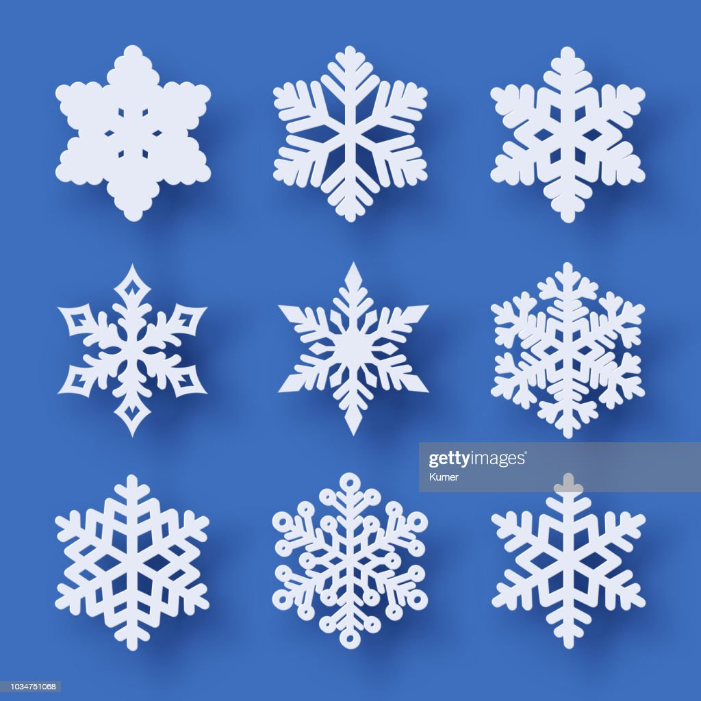 Vector set of 9 paper cut snowflakes with shadow