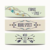 Vector set of abstract ethnic banners with arrows, feathers and geometric ornaments. Boho design brochure templates. Modern colorful tribal backgrounds.