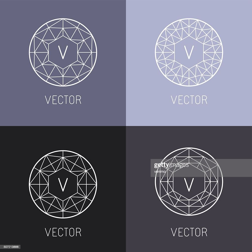 Vector set of abstract jewelry logo design templates