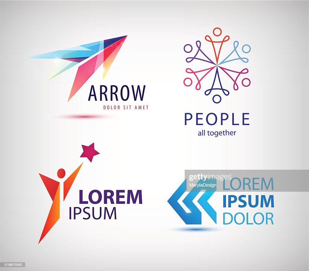 Vector set of abstract logo design, arrow