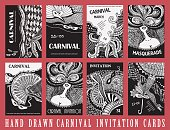 Vector set of abstract Masquerade cards. Carnival Party invitation. Harlequin rhombus. Mardi Gras holiday. Black and white hand drawn doodle sketch. Hand drawn ornaments, feathers, checkered texture
