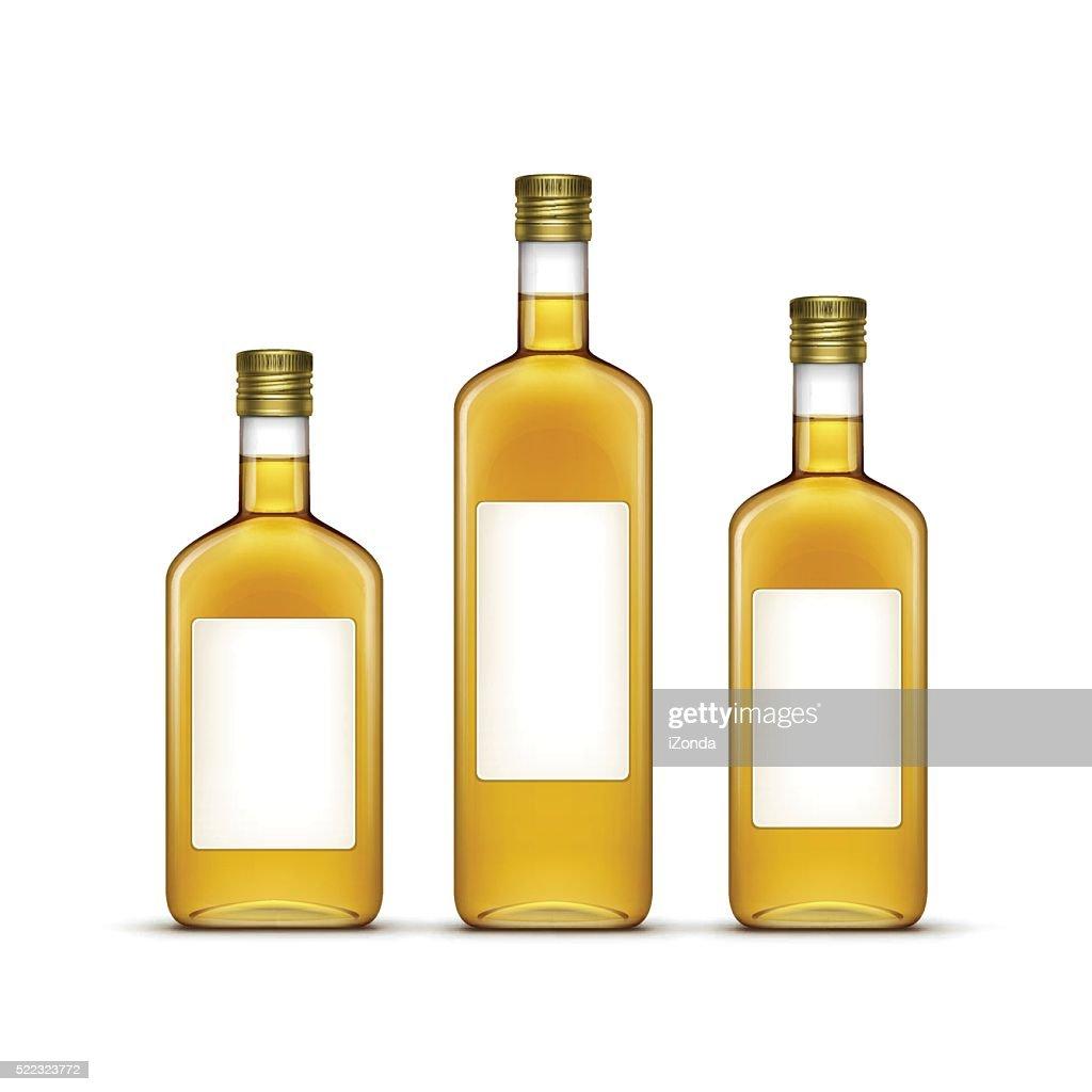 Vector Set of Alcohol Drinks or Olive Oil Glass Bottles