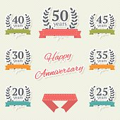 Vector set of anniversary elements