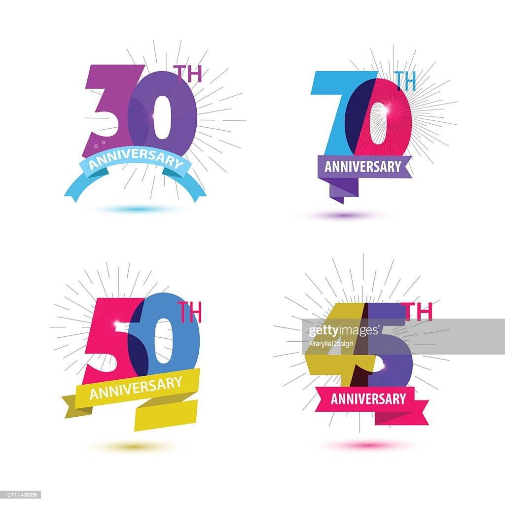Vector set of anniversary numbers design. 30, 70, 50, 45