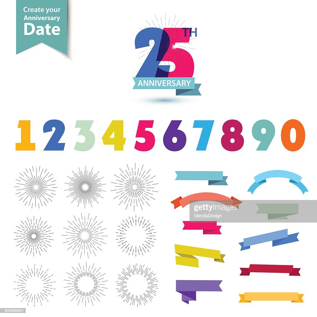 Vector set of anniversary numbers design. Create your own icons