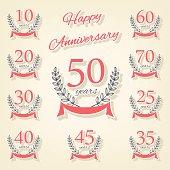 Vector set of anniversary symbols