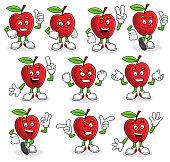 Vector set of Apple character, apple mascot.