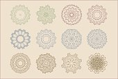 Vector set of arabic oriental retro indian circular mandala patterns