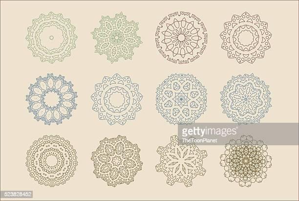 Vector set of arabic oriental retro indian circular mandala patterns