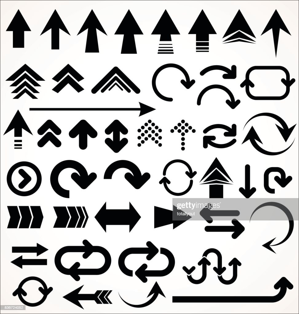 Vector set of arrow shapes isolated on white
