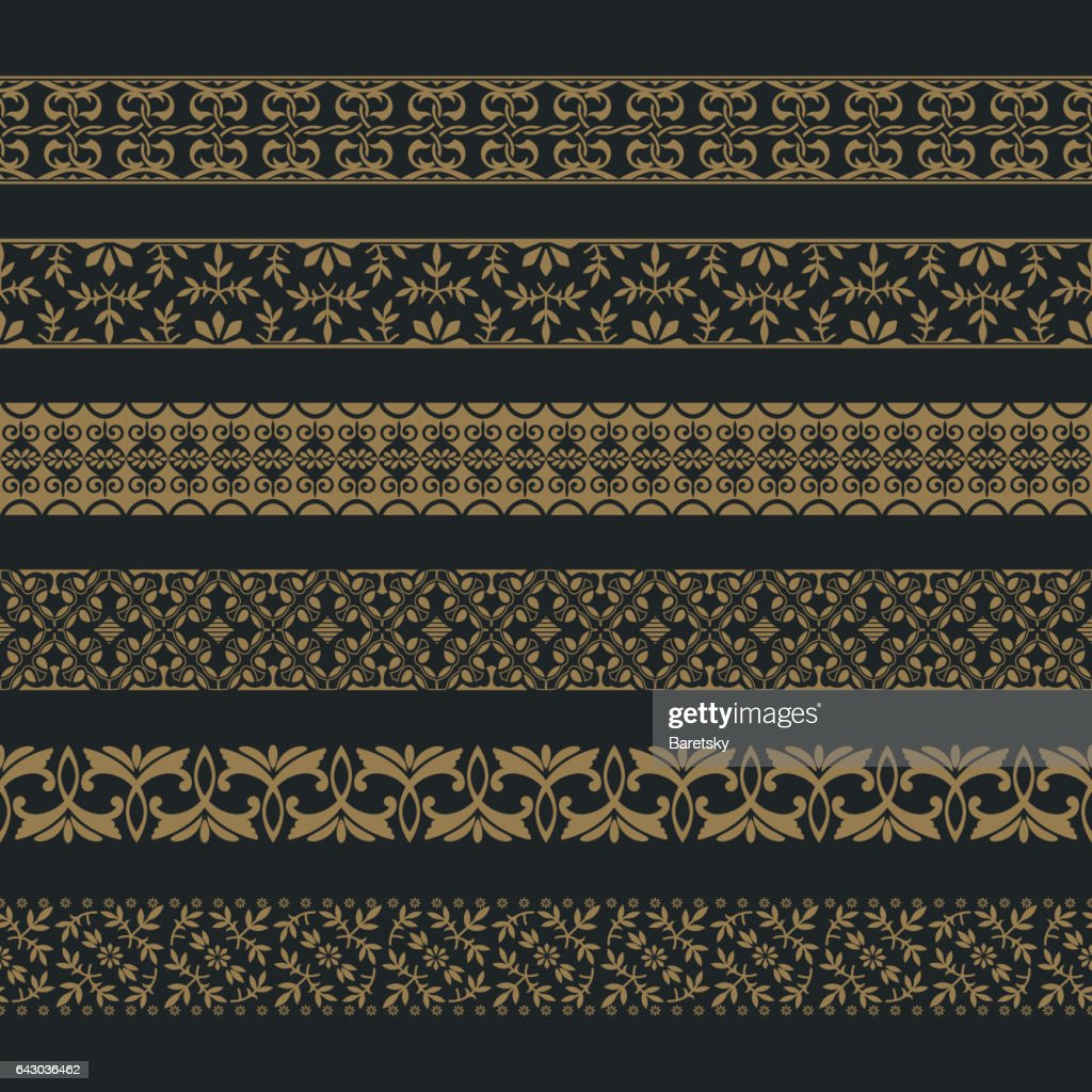 vector set of art dividers in east style